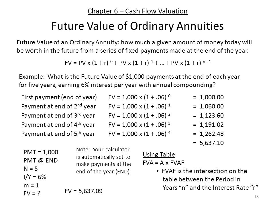 Chapter 6 – Cash Flow Valuation Future Value of Ordinary Annuities 18 Future Value of an Ordinary Annuity: how much a given amount of money today will be worth in the future from a series of fixed payments made at the end of the year.