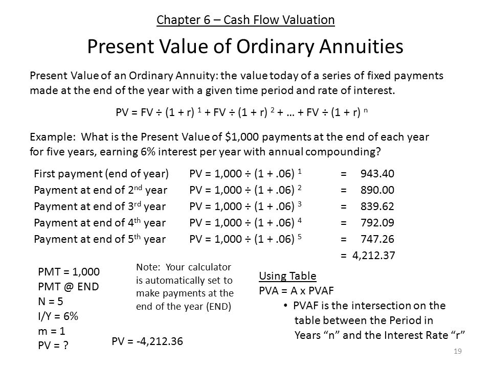 Chapter 6 – Cash Flow Valuation Present Value of Ordinary Annuities 19 Present Value of an Ordinary Annuity: the value today of a series of fixed payments made at the end of the year with a given time period and rate of interest.