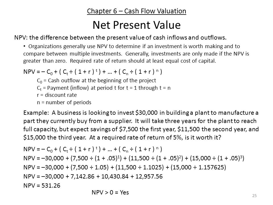 Chapter 6 – Cash Flow Valuation 25 Net Present Value NPV: the difference between the present value of cash inflows and outflows.