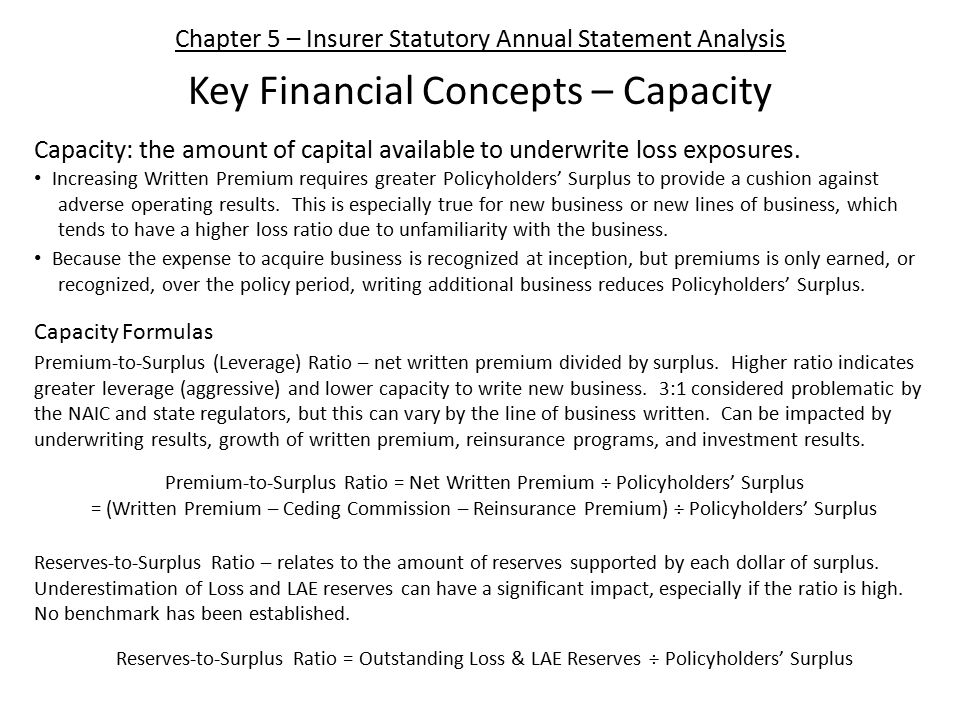 Chapter 5 – Insurer Statutory Annual Statement Analysis Key Financial Concepts – Capacity Capacity: the amount of capital available to underwrite loss exposures.
