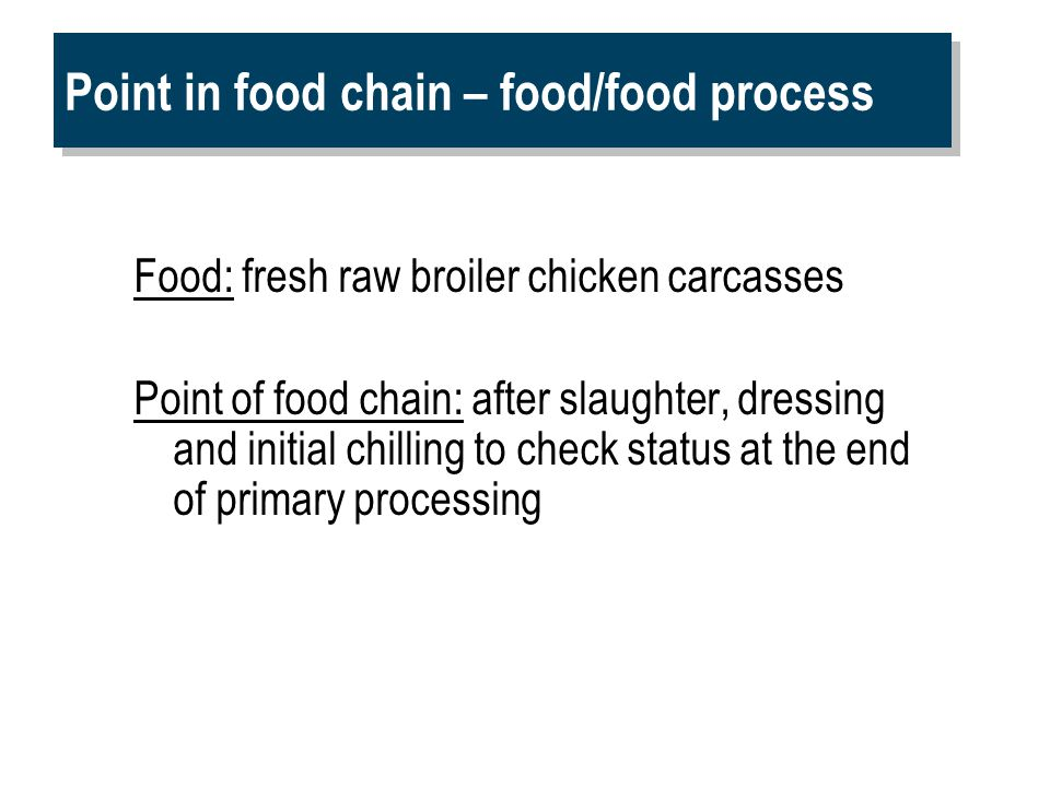 Point in food chain – food/food process Food: fresh raw broiler chicken carcasses Point of food chain: after slaughter, dressing and initial chilling to check status at the end of primary processing