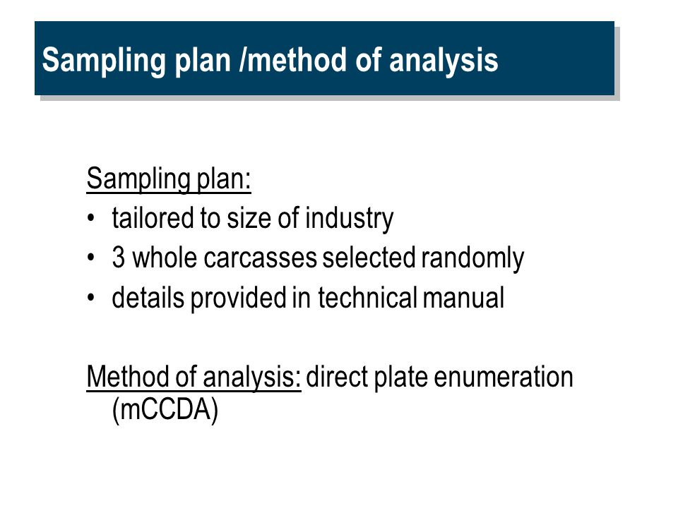 Sampling plan /method of analysis Sampling plan: tailored to size of industry 3 whole carcasses selected randomly details provided in technical manual Method of analysis: direct plate enumeration (mCCDA)