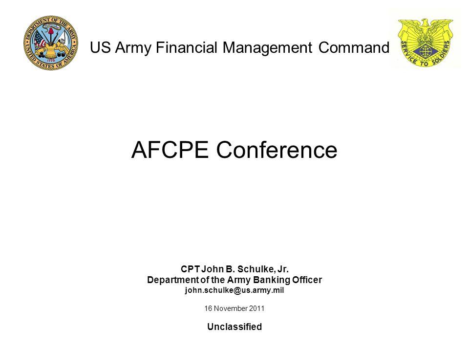 AFCPE Conference CPT John B. Schulke, Jr.