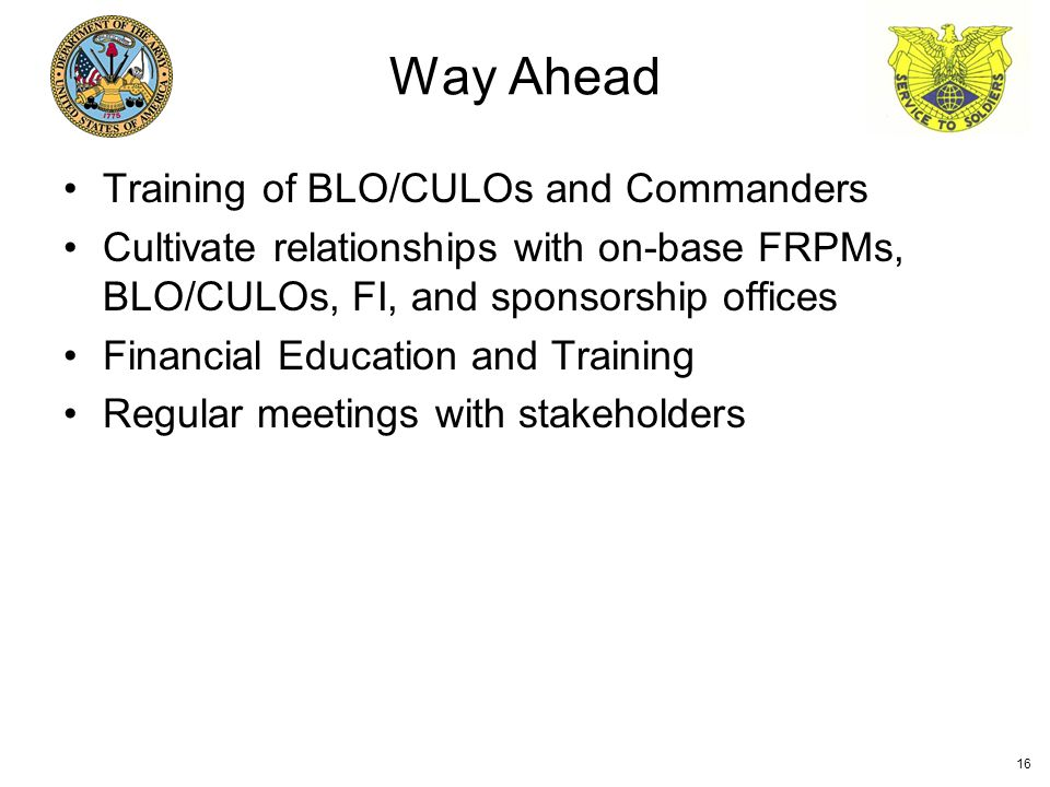 Training of BLO/CULOs and Commanders Cultivate relationships with on-base FRPMs, BLO/CULOs, FI, and sponsorship offices Financial Education and Training Regular meetings with stakeholders Way Ahead 16
