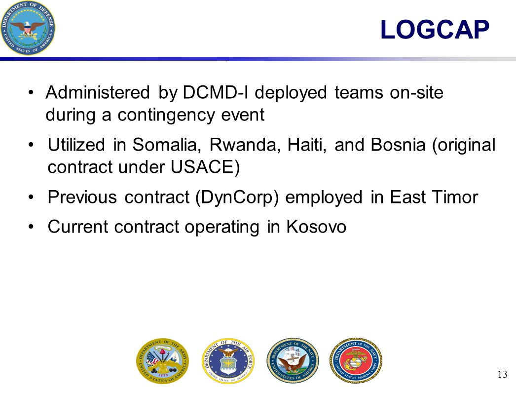 13 LOGCAP Administered by DCMD-I deployed teams on-site during a contingency event Utilized in Somalia, Rwanda, Haiti, and Bosnia (original contract under USACE) Previous contract (DynCorp) employed in East Timor Current contract operating in Kosovo