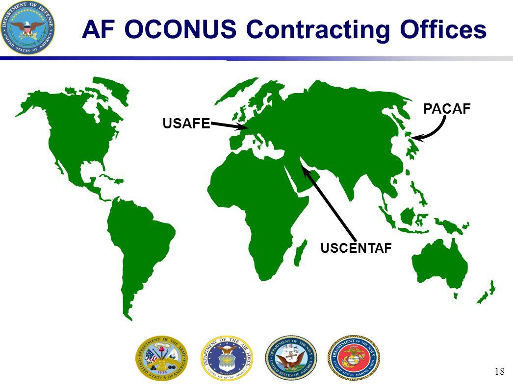 18 AF OCONUS Contracting Offices USCENTAF USAFE PACAF