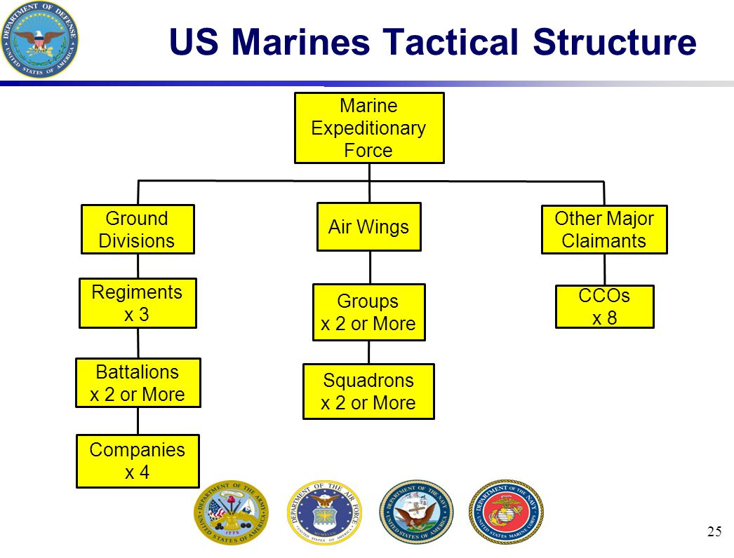 25 US Marines Tactical Structure CCOs x 8 Squadrons x 2 or More Marine Expeditionary Force Ground Divisions Air Wings Other Major Claimants Groups x 2 or More Regiments x 3 Battalions x 2 or More Companies x 4