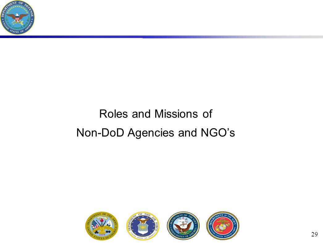 29 Roles and Missions of Non-DoD Agencies and NGO's