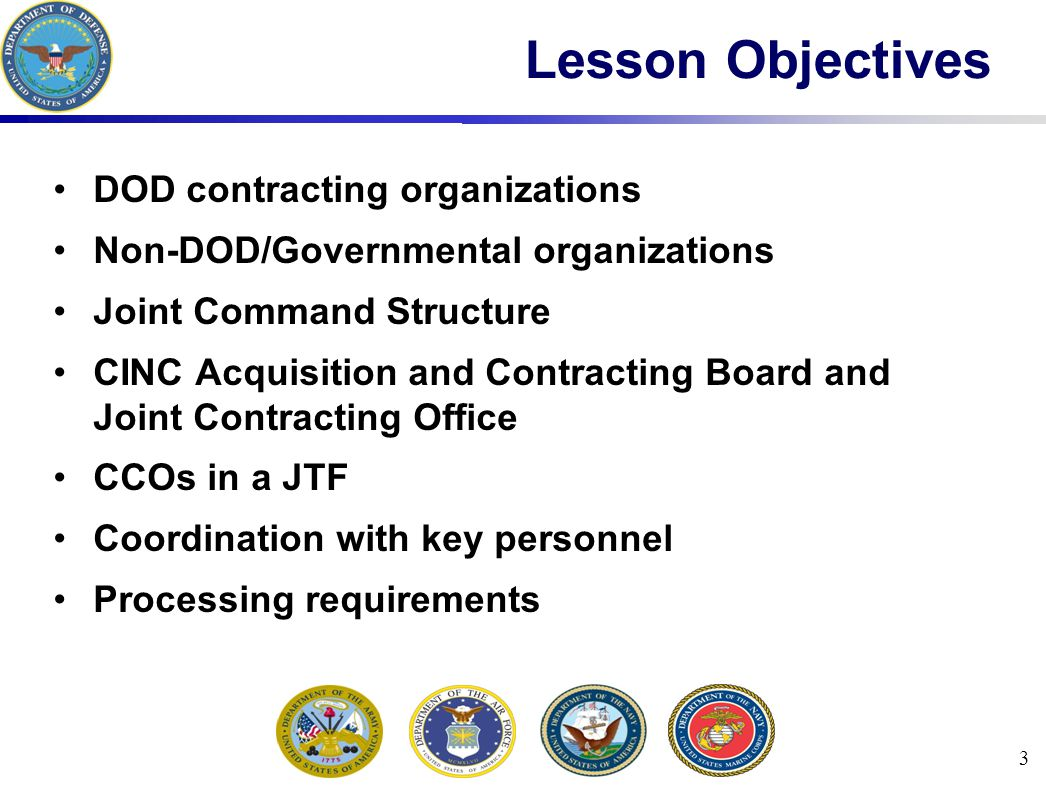 3 Lesson Objectives DOD contracting organizations Non-DOD/Governmental organizations Joint Command Structure CINC Acquisition and Contracting Board and Joint Contracting Office CCOs in a JTF Coordination with key personnel Processing requirements