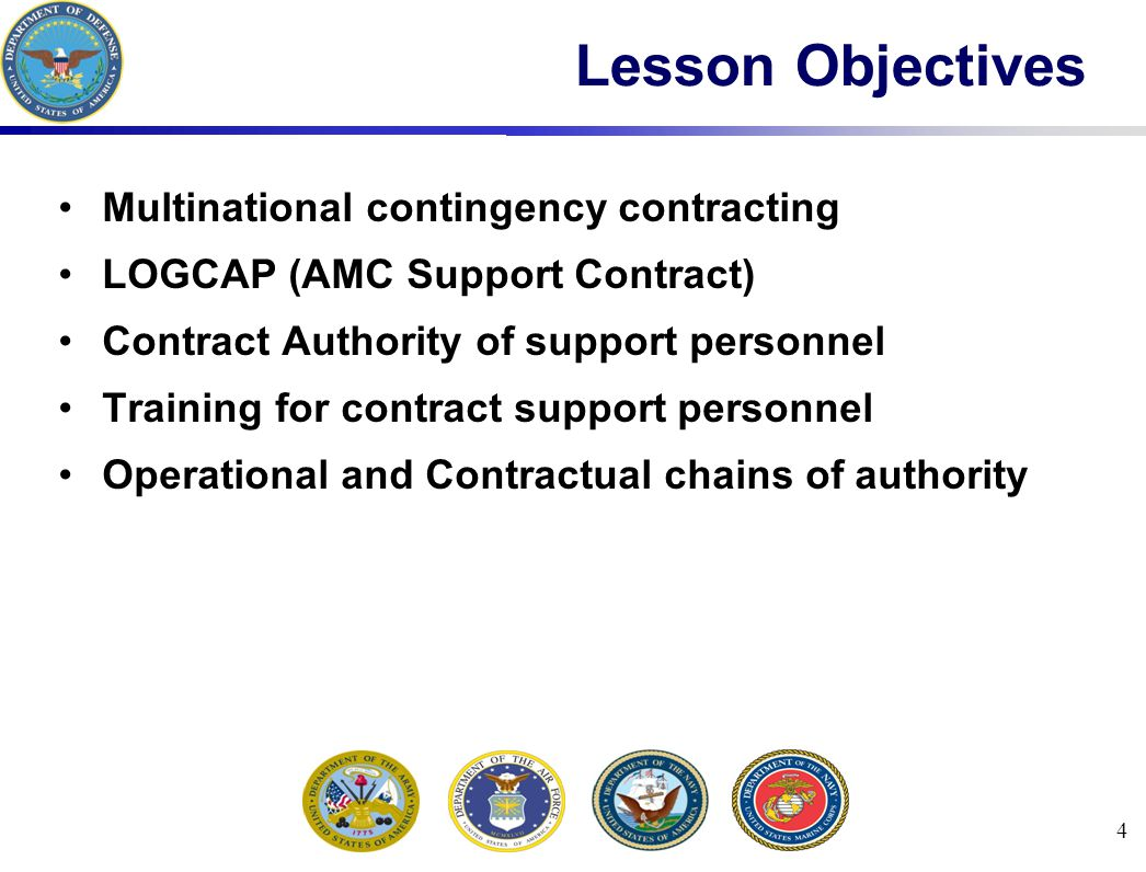 65 Summary Multinational contingency contracting LOGCAP (AMC Support Contract) Contract Authority of support personnel Training for contract support personnel Operational and Contractual chains of authority