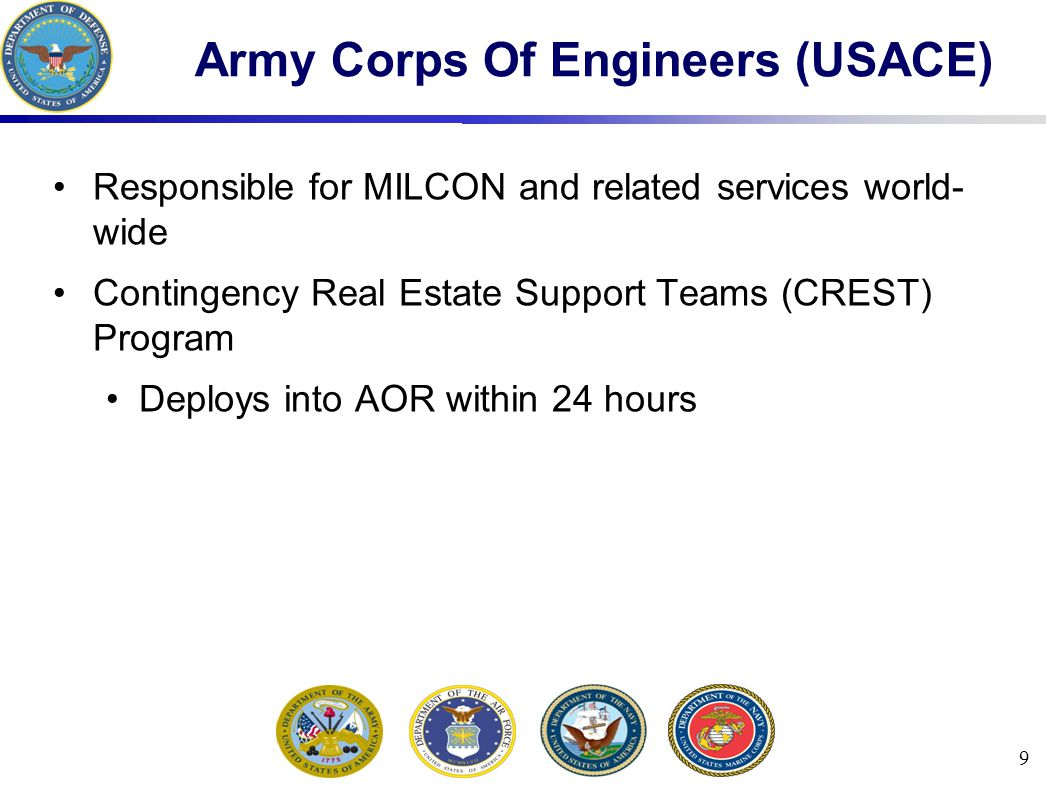 9 Army Corps Of Engineers (USACE) Responsible for MILCON and related services world- wide Contingency Real Estate Support Teams (CREST) Program Deploys into AOR within 24 hours