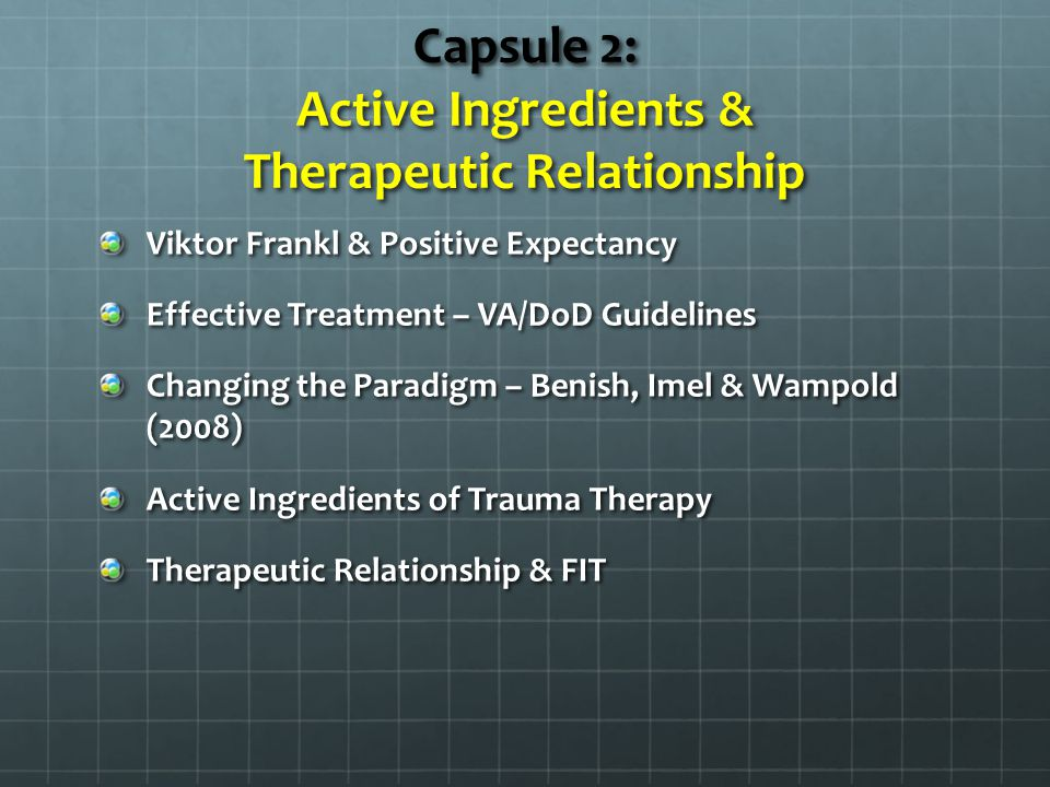 Positive Outcomes & Excellence in Treatment Positive Outcomes & Excellence in Treatment www.scottdmiller.com 1.Collect empirical data evaluating the quality of the therapeutic relationship 1.Generate honest feedback from client on methods to improve therapy (i.e.