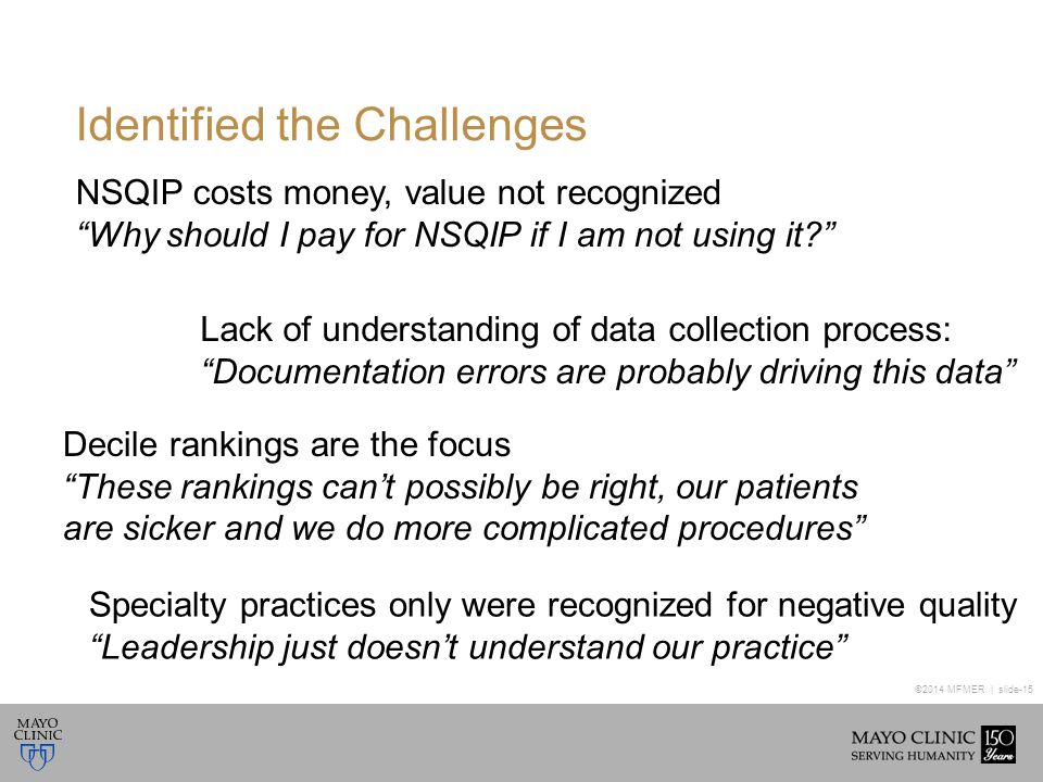 ©2014 MFMER | slide-15 Identified the Challenges NSQIP costs money, value not recognized Why should I pay for NSQIP if I am not using it Lack of understanding of data collection process: Documentation errors are probably driving this data Decile rankings are the focus These rankings can't possibly be right, our patients are sicker and we do more complicated procedures Specialty practices only were recognized for negative quality Leadership just doesn't understand our practice