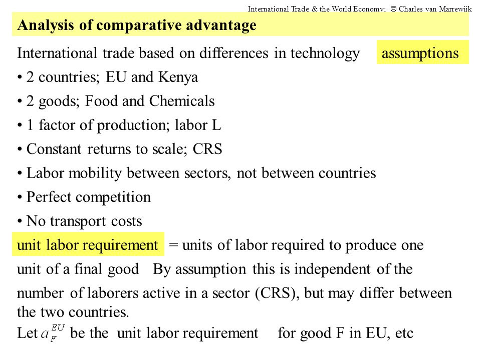 2 countries; EU and Kenya International trade based on differences in technologyassumptions No transport costs 2 goods; Food and Chemicals 1 factor of