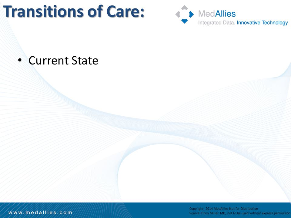 Transitions of Care: Copyright, 2014 MedAllies Not for Distribution Source: Holly Miller, MD, not to be used without express permission Current State