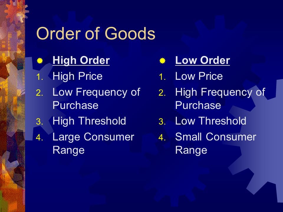 Order of Goods  High Order 1. High Price 2. Low Frequency of Purchase 3.