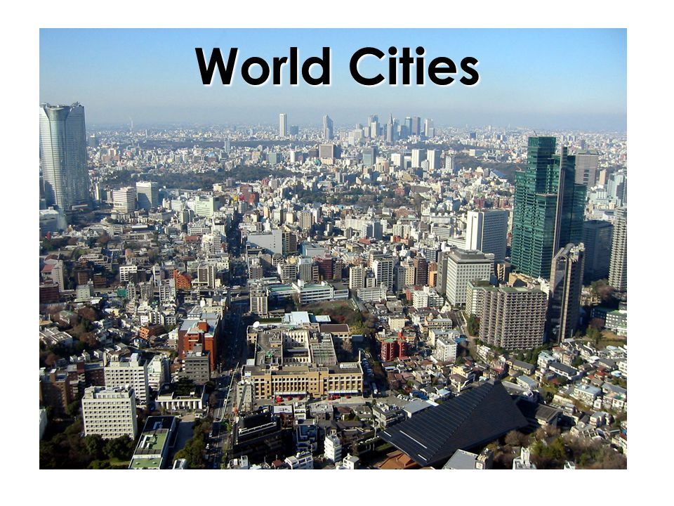 Top Ten Cities,1950 (estimated from various sources) City Pop (in millions) Lat Long New York, USA12.340 N 74 W London, UK8.752 N 0 Tokyo, Japan6.935 N135 E Paris, France5.449 N 2 E Moscow, USSR5.456 N 37 E Shanghai, China5.331 N121 E Essen (Ruhr), Germany5.351 N 7 E Buenos Aires, Argentina5.034 S 58 W Chicago, USA4.941 N 87 W Calcutta (Kolkata), India4.422 N 88 E Plot these cities to see where the world's ten largest cities were located in 1950.