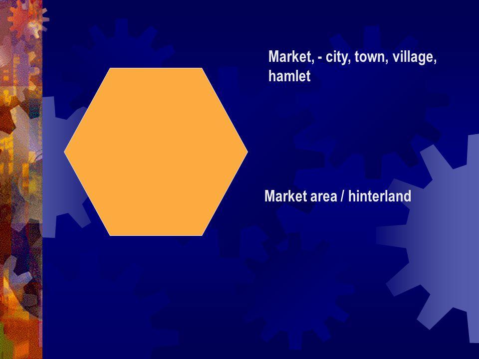 Market, - city, town, village, hamlet Market area / hinterland