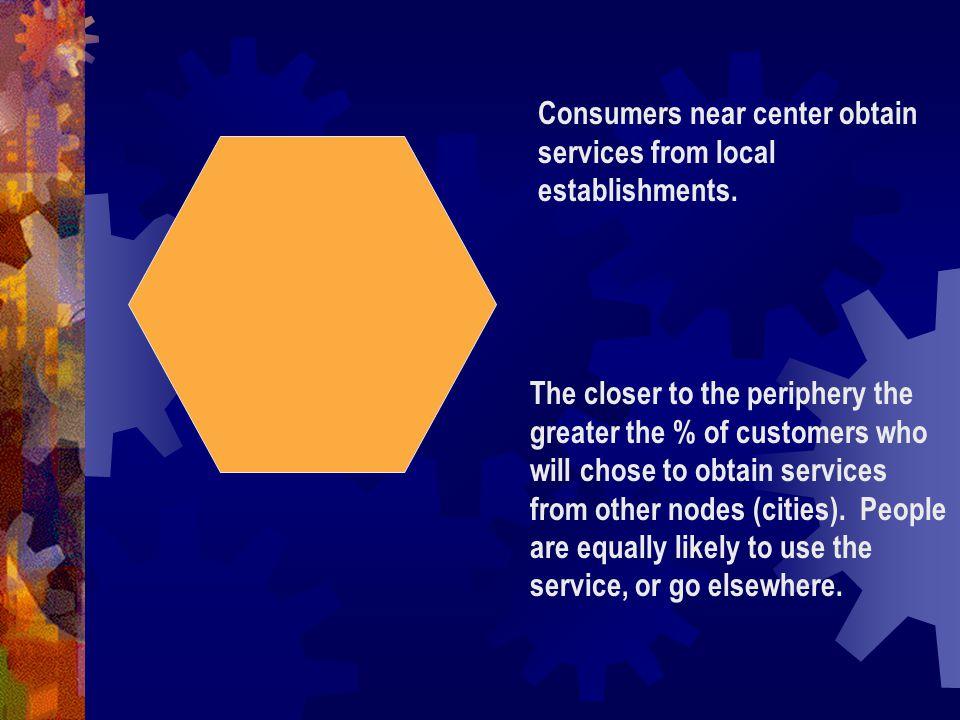 Consumers near center obtain services from local establishments.