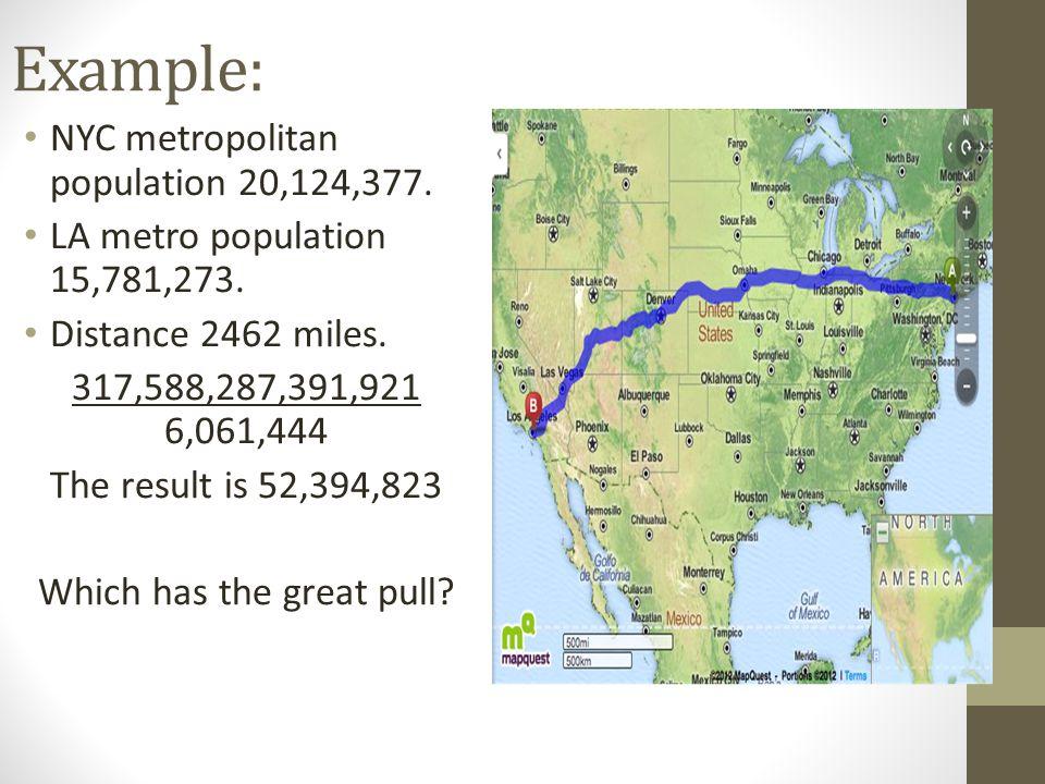 Example: NYC metropolitan population 20,124,377. LA metro population 15,781,273.