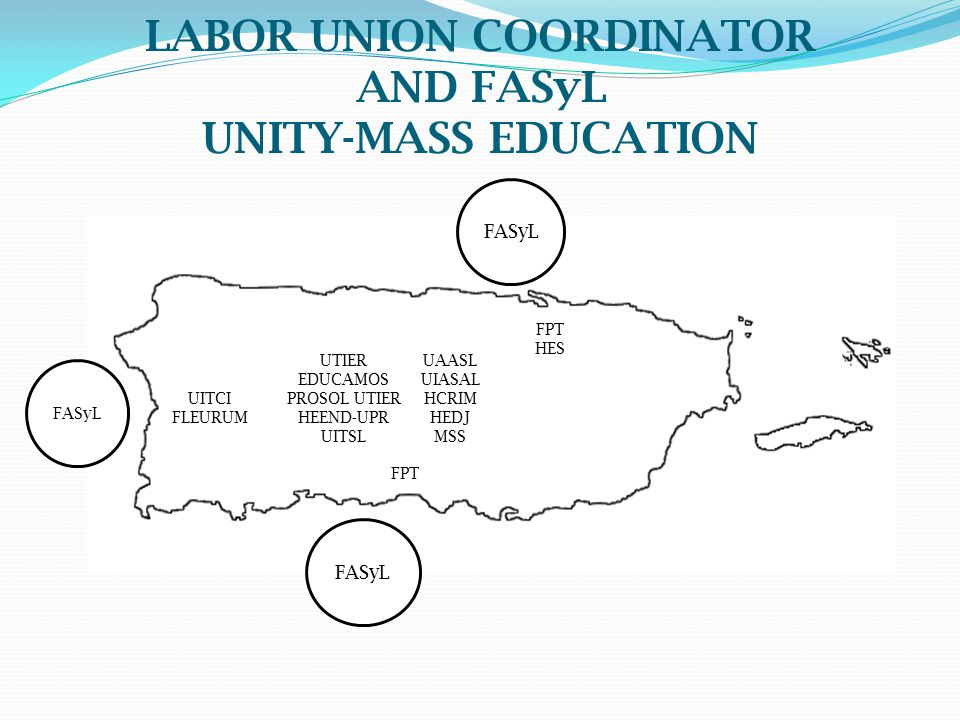 LABOR UNION COORDINATOR AND FASyL UNITY-MASS EDUCATION FASyL FPT HES UAASL UIASAL HCRIM HEDJ MSS UTIER EDUCAMOS PROSOL UTIER HEEND-UPR UITSL UITCI FLE