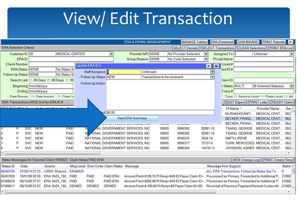 View/ Edit Transaction