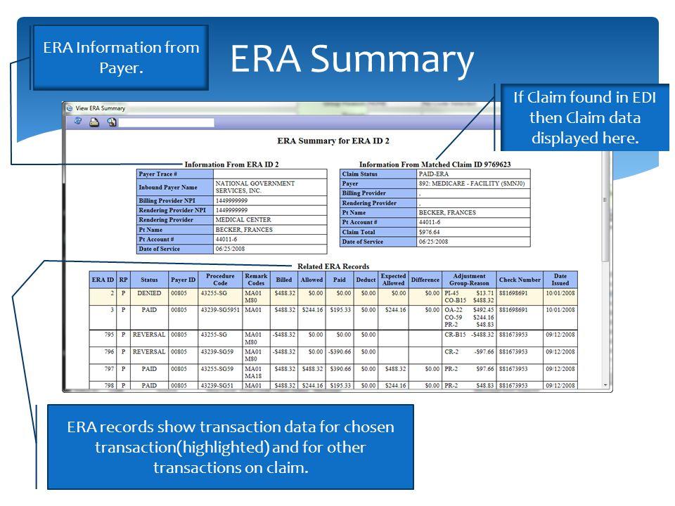 ERA Summary If Claim found in EDI then Claim data displayed here.