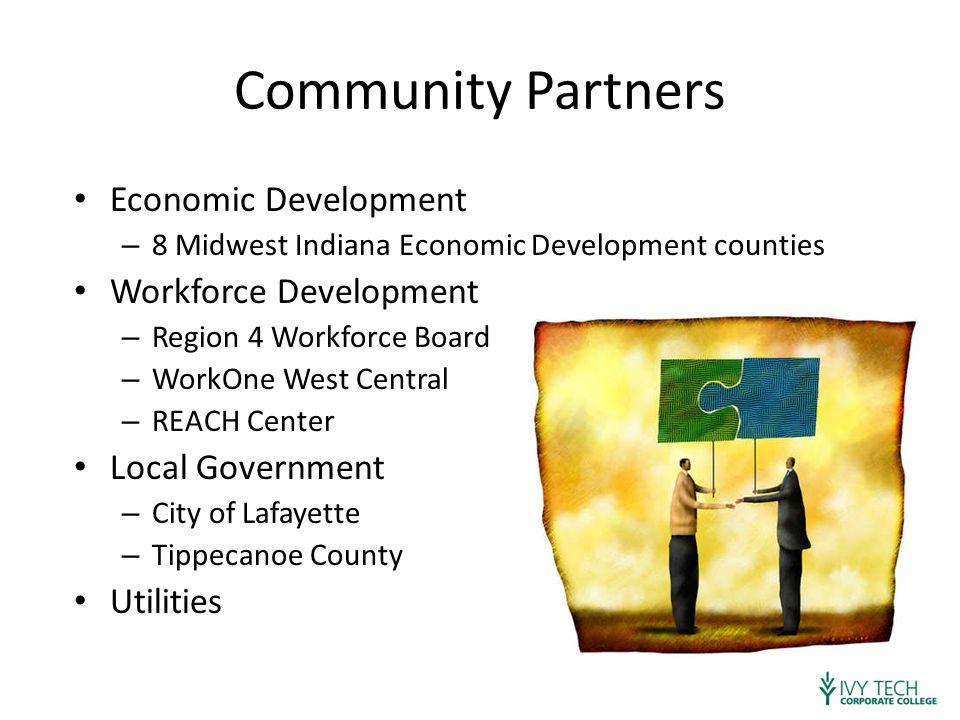 Community Partners Economic Development – 8 Midwest Indiana Economic Development counties Workforce Development – Region 4 Workforce Board – WorkOne West Central – REACH Center Local Government – City of Lafayette – Tippecanoe County Utilities