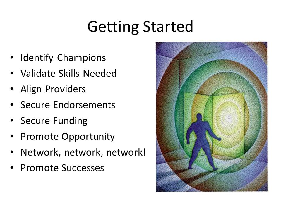 Getting Started Identify Champions Validate Skills Needed Align Providers Secure Endorsements Secure Funding Promote Opportunity Network, network, network.