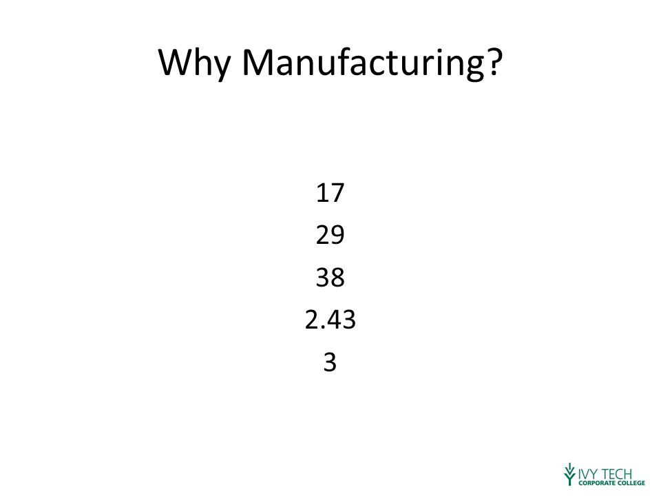 Why Manufacturing? 17 29 38 2.43 3