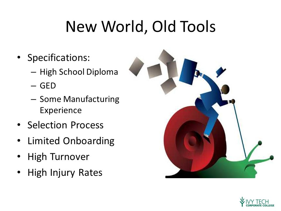 New World, Old Tools Specifications: – High School Diploma – GED – Some Manufacturing Experience Selection Process Limited Onboarding High Turnover High Injury Rates