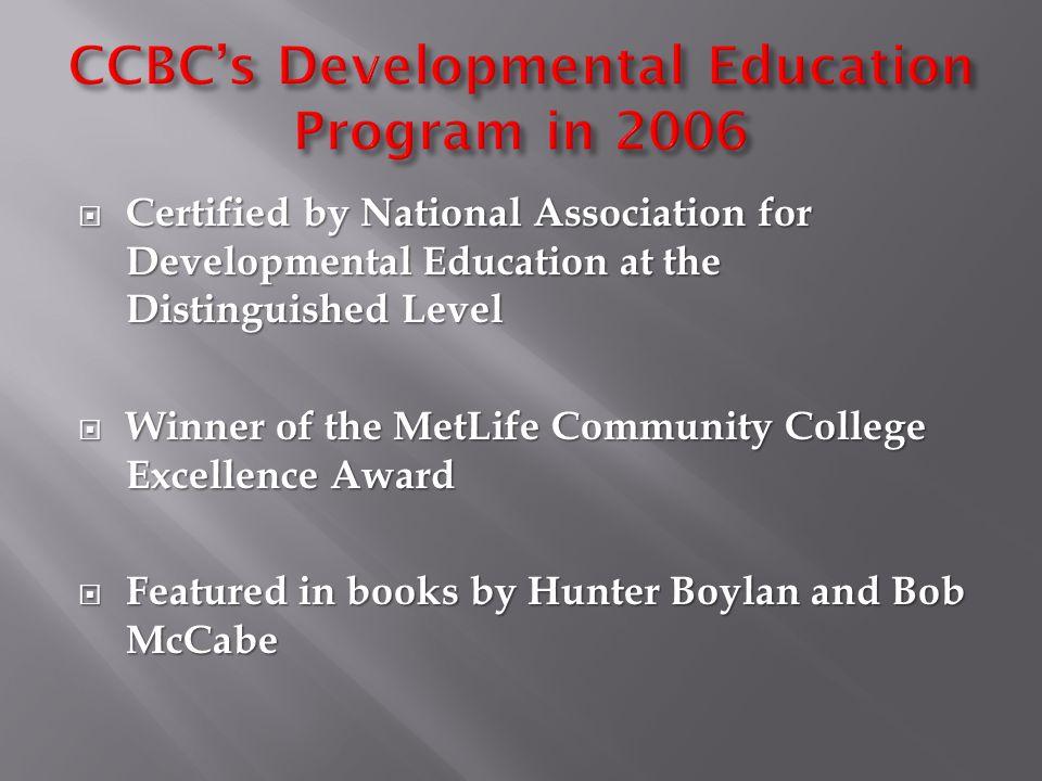 RDNG 051-5 hrs RDNG 052-4 hrs MATH 081-3 hrs MATH 082-3 hrs MATH 083-3 hrs ENGL 051-4 hrs ENGL 052-3 hrs CCBC's Developmental Education Courses MATH 1