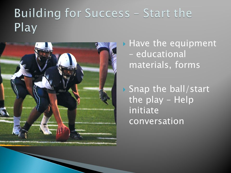  Have the equipment – educational materials, forms  Snap the ball/start the play – Help initiate conversation