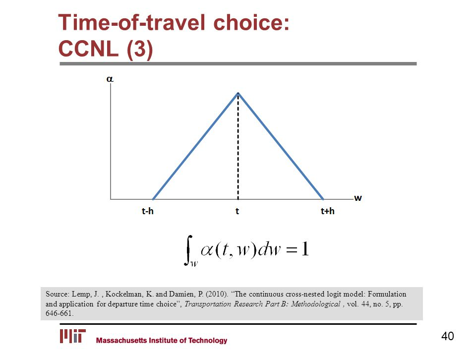 "Time-of-travel choice: CCNL (3) 40 Source: Lemp, J., Kockelman, K. and Damien, P. (2010). ""The continuous cross-nested logit model: Formulation and ap"