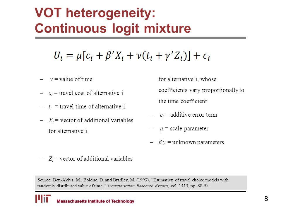 VOT heterogeneity: Continuous logit mixture Source: Ben-Akiva, M., Bolduc, D.