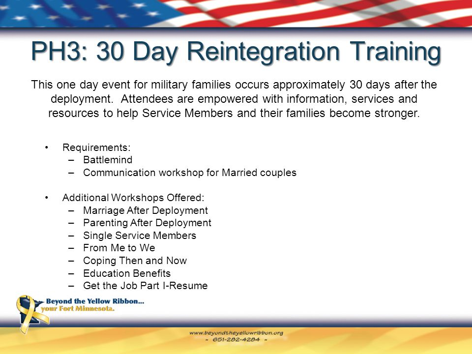 PH3: 30 Day Reintegration Training Requirements: –Battlemind –Communication workshop for Married couples Additional Workshops Offered: –Marriage After Deployment –Parenting After Deployment –Single Service Members –From Me to We –Coping Then and Now –Education Benefits –Get the Job Part I-Resume This one day event for military families occurs approximately 30 days after the deployment.
