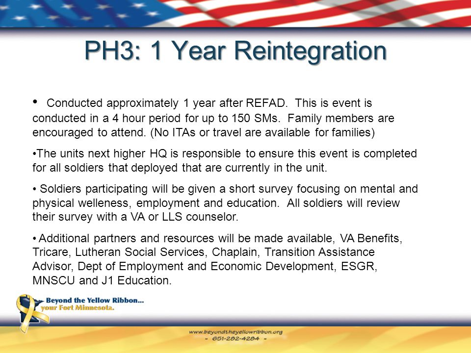 PH3: 1 Year Reintegration Conducted approximately 1 year after REFAD.