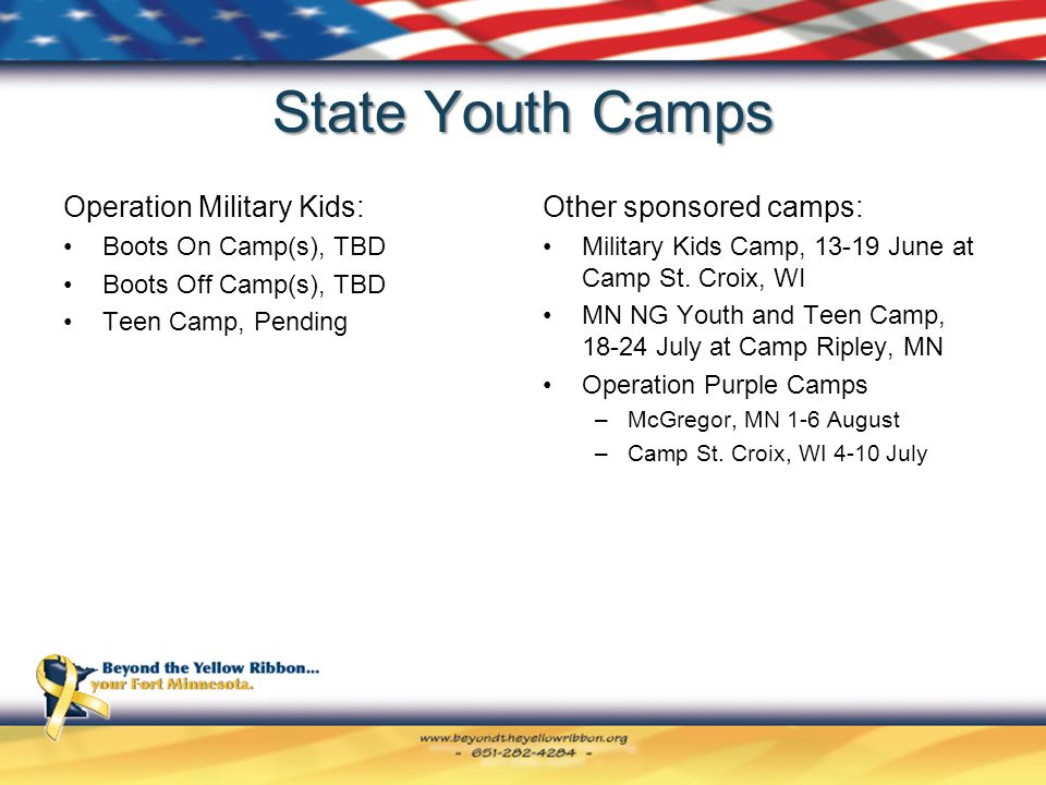 State Youth Camps Operation Military Kids: Boots On Camp(s), TBD Boots Off Camp(s), TBD Teen Camp, Pending Other sponsored camps: Military Kids Camp, 13-19 June at Camp St.