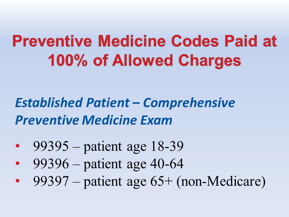 Established Patient – Comprehensive Preventive Medicine Exam 99395 – patient age 18-39 99396 – patient age 40-64 99397 – patient age 65+ (non-Medicare)