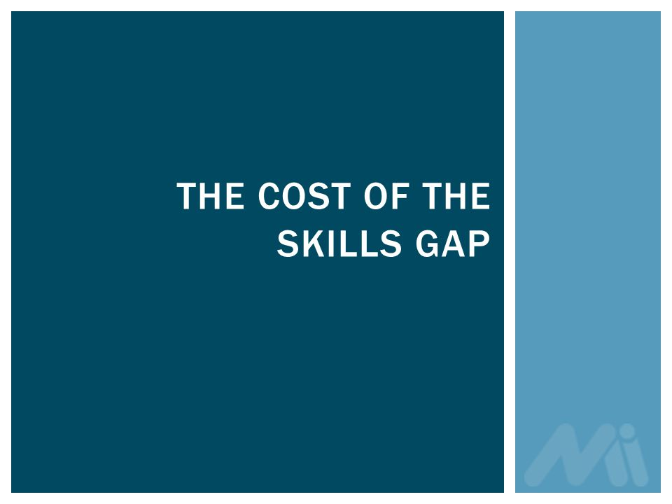 THE COST OF THE SKILLS GAP