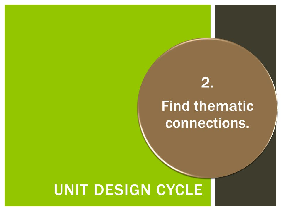 UNIT DESIGN CYCLE 2. Find thematic connections.