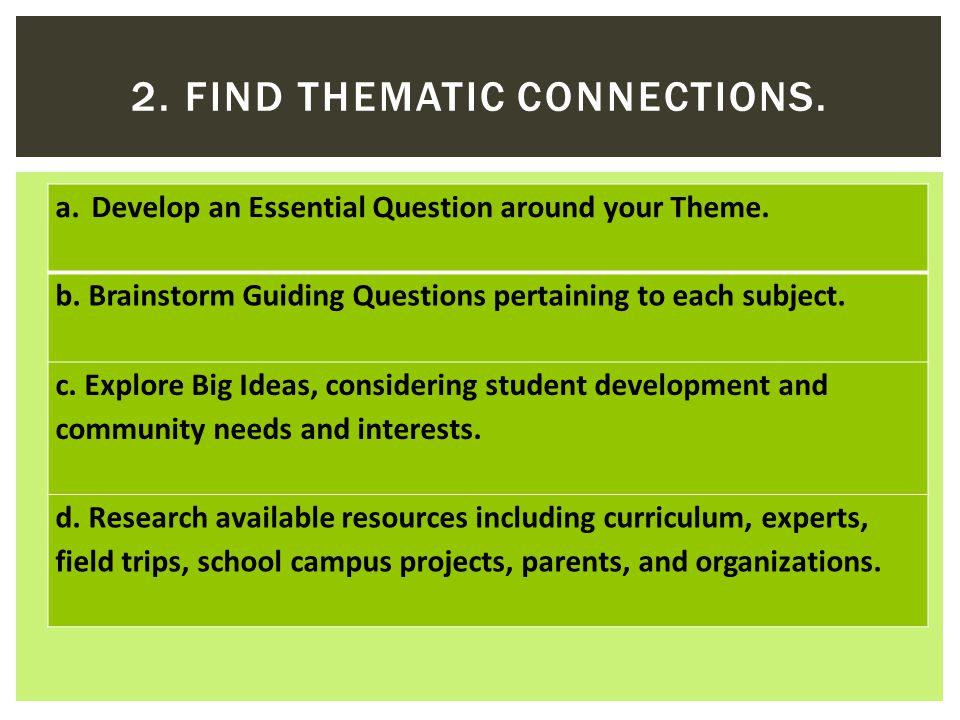 a.Develop an Essential Question around your Theme.