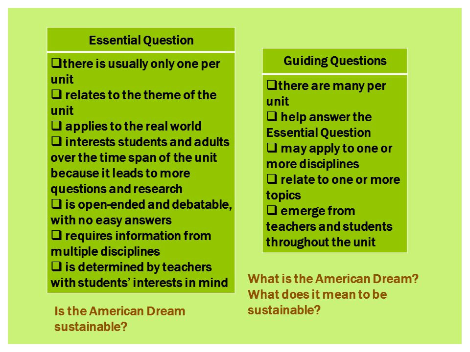 Essential Question  there is usually only one per unit  relates to the theme of the unit  applies to the real world  interests students and adults over the time span of the unit because it leads to more questions and research  is open-ended and debatable, with no easy answers  requires information from multiple disciplines  is determined by teachers with students' interests in mind Guiding Questions  there are many per unit  help answer the Essential Question  may apply to one or more disciplines  relate to one or more topics  emerge from teachers and students throughout the unit Is the American Dream sustainable.