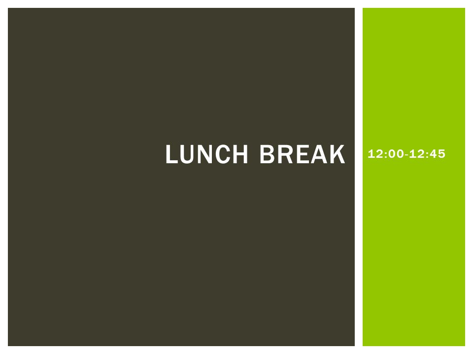 12:00-12:45 LUNCH BREAK