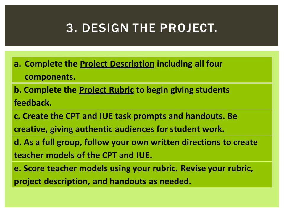 a.Complete the Project Description including all four components.