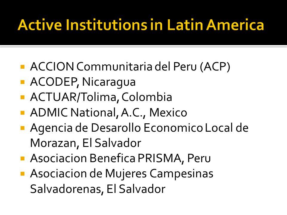  ACCION Communitaria del Peru (ACP)  ACODEP, Nicaragua  ACTUAR/Tolima, Colombia  ADMIC National, A.C., Mexico  Agencia de Desarollo Economico Local de Morazan, El Salvador  Asociacion Benefica PRISMA, Peru  Asociacion de Mujeres Campesinas Salvadorenas, El Salvador