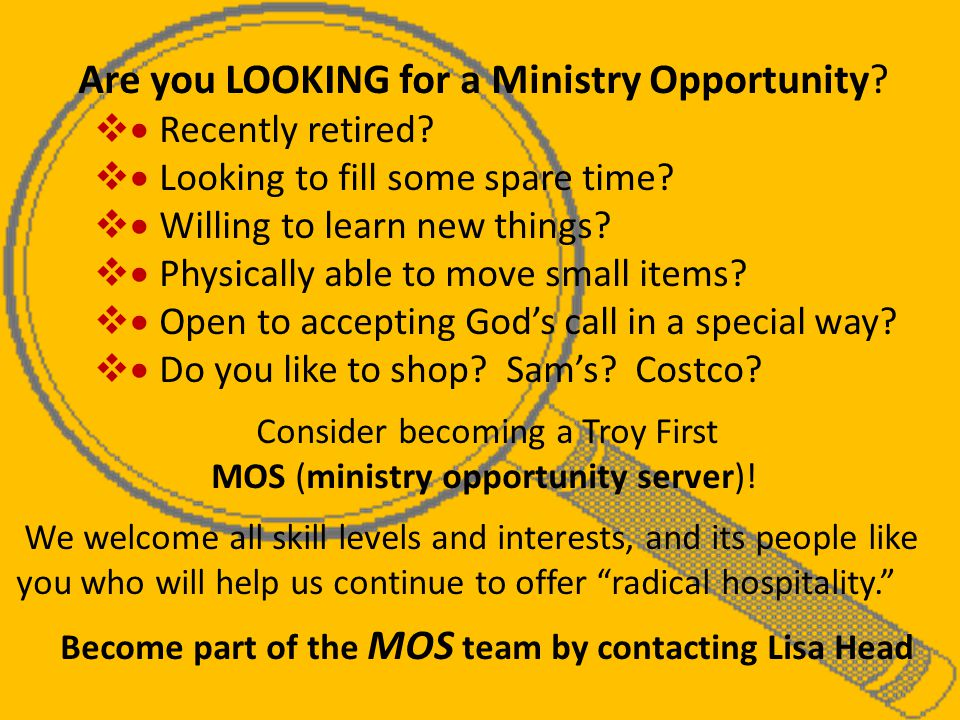 Are you LOOKING for a Ministry Opportunity.   Recently retired.