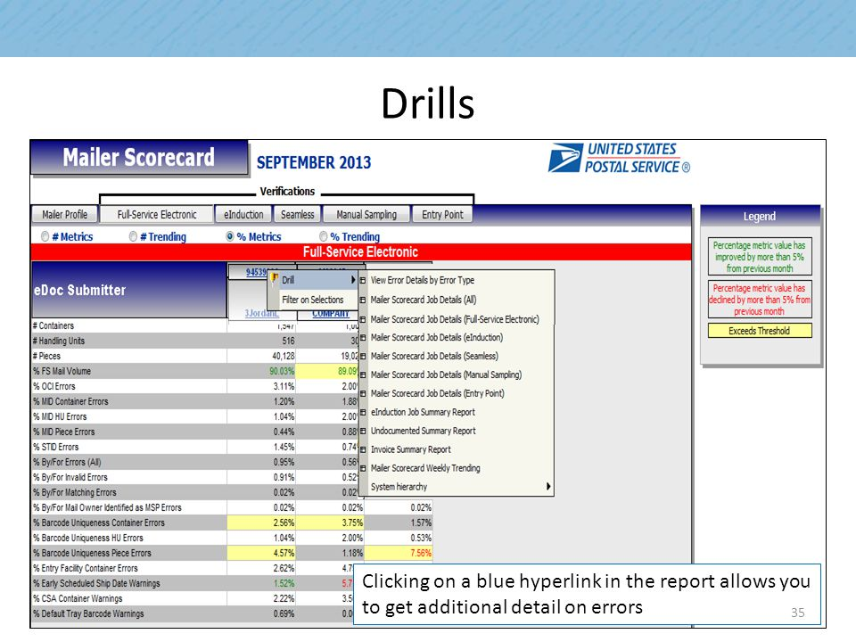 Drills Clicking on a blue hyperlink in the report allows you to get additional detail on errors 35