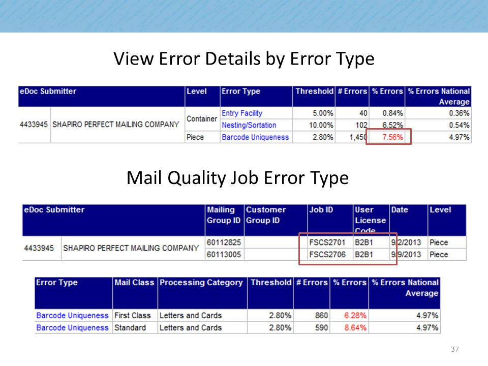 View Error Details by Error Type Mail Quality Job Error Type 37