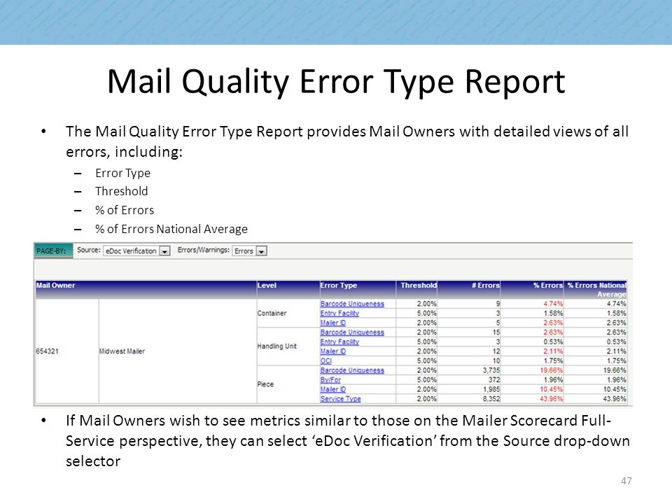 Mail Quality Error Type Report The Mail Quality Error Type Report provides Mail Owners with detailed views of all errors, including: – Error Type – Th